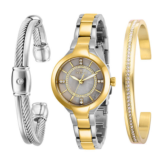 Invicta Angel Womens Two Tone Stainless Steel 3-pc. Watch Boxed Set-29327