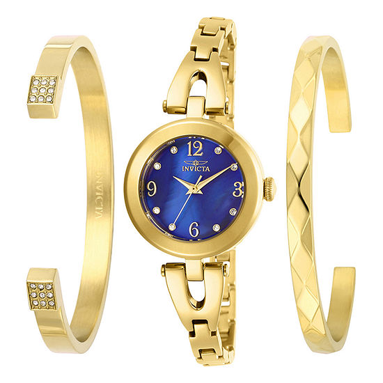 Invicta Angel Womens Gold Tone Stainless Steel 3-pc. Watch Boxed Set-29332