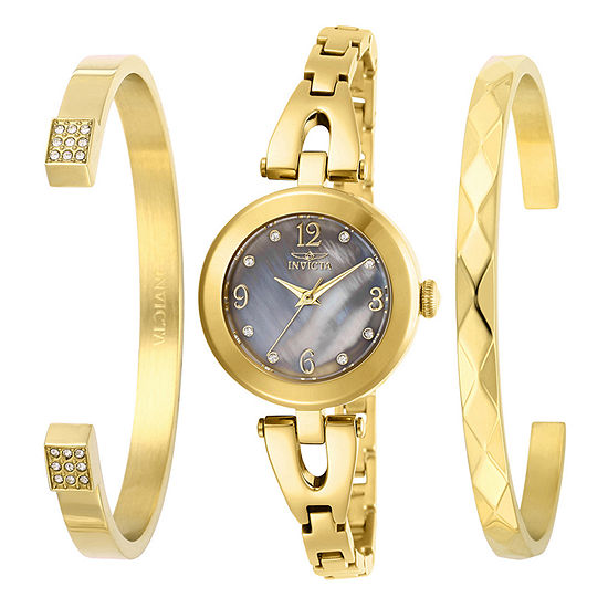 Invicta Angel Womens Gold Tone Stainless Steel 3-pc. Watch Boxed Set-29333