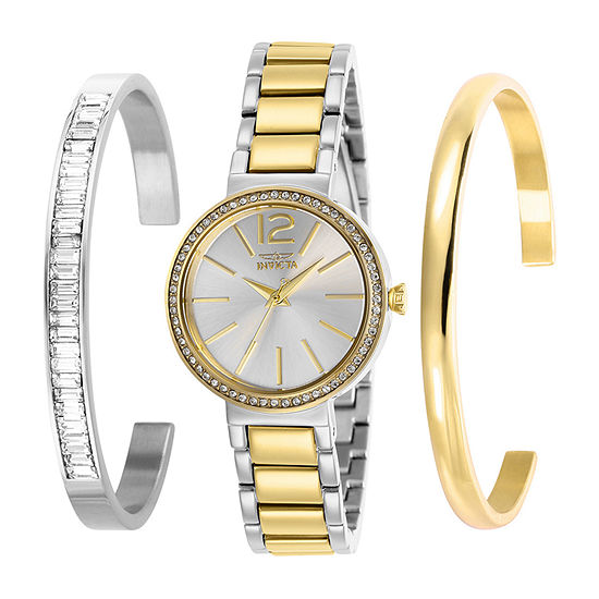 Invicta Angel Womens Two Tone Stainless Steel 3-pc. Watch Boxed Set-29273