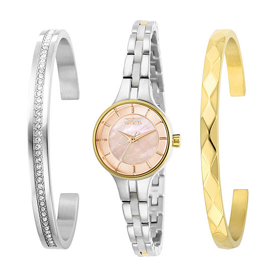 Invicta Angel Womens Two Tone Stainless Steel 3-pc. Watch Boxed Set-29284