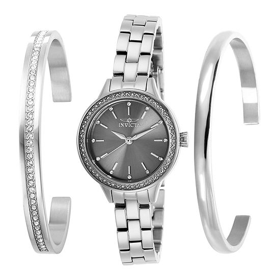 Invicta Angel Womens Silver Tone Stainless Steel 3-pc. Watch Boxed Set-29309