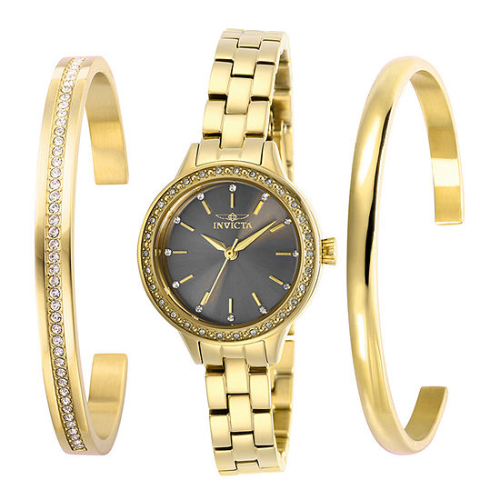 Invicta Angel Womens Gold Tone Stainless Steel 3-pc. Watch Boxed Set-29314