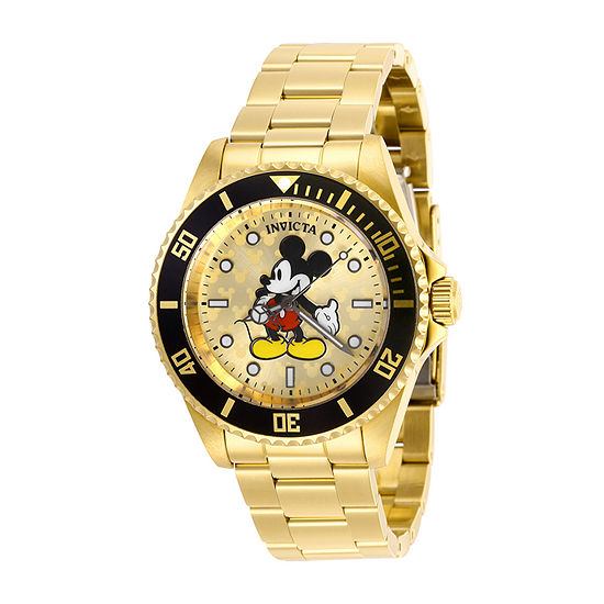 Invicta Disney Mens Gold Tone Stainless Steel Bracelet Watch-29670