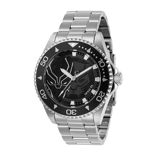 Invicta Marvel Black Panther Mens Silver Tone Stainless Steel Bracelet Watch-29685