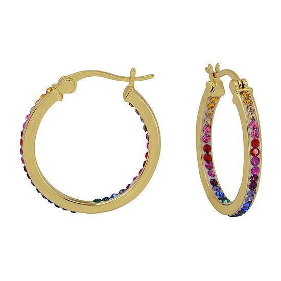 Sparkle Allure Multi Color Crystal 14K Gold Over Brass Hoop Earrings