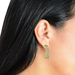 Sparkle Allure Crystal 14K Gold Over Brass Hoop Earrings