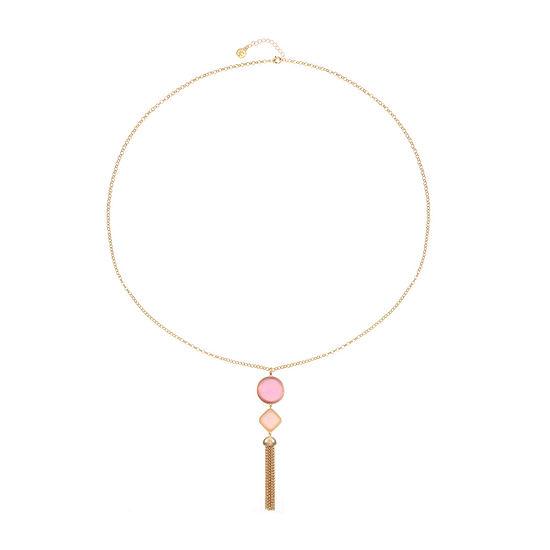 Liz Claiborne Pink 34 Inch Cable Pendant Necklace