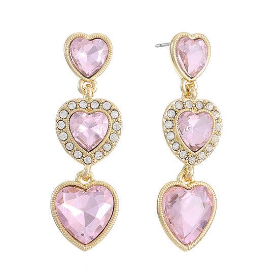 Monet Jewelry 1 Pair Pink Heart Drop Earrings