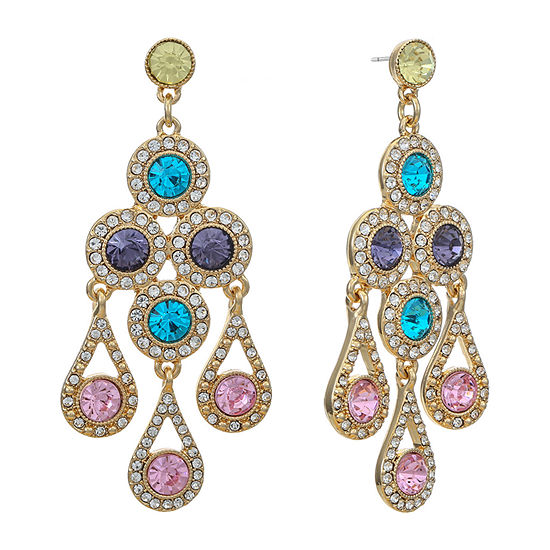 Monet Jewelry 1 Pair Multi Color Round Chandelier Earrings