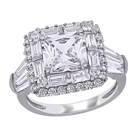 Womens White Cubic Zirconia Sterling Silver Halo Cocktail Ring