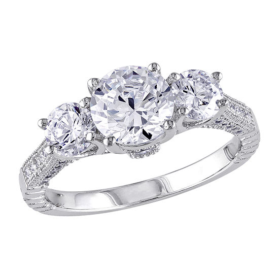 Womens 3 CT. T.W. White Cubic Zirconia Sterling Silver 3-Stone Engagement Ring
