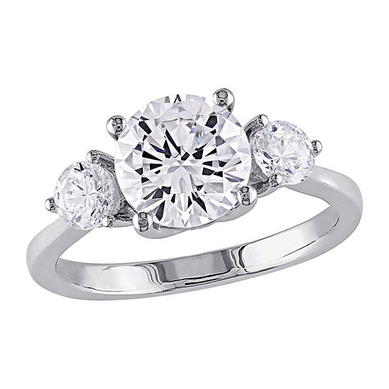 Womens 4 1/4 CT. T.W. White Cubic Zirconia Sterling Silver 3-Stone Engagement Ring