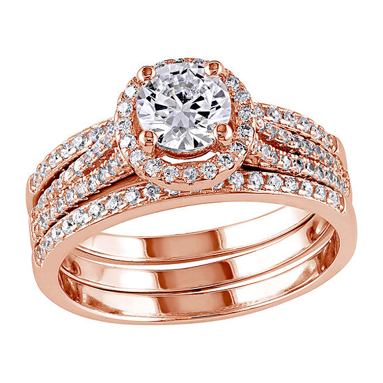 Womens 2 1/2 CT. T.W. White Cubic Zirconia 18K Rose Gold Over Silver Ring Sets