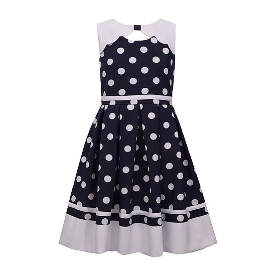 Bonnie Jean Girls Sleeveless Polka Dot A-Line Dress - Preschool / Big Kid Plus