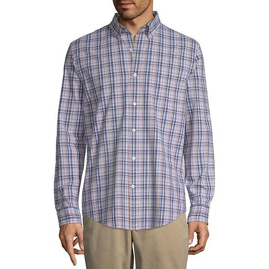 St. John's Bay Stretch Mens Long Sleeve Plaid Button-Down Shirt