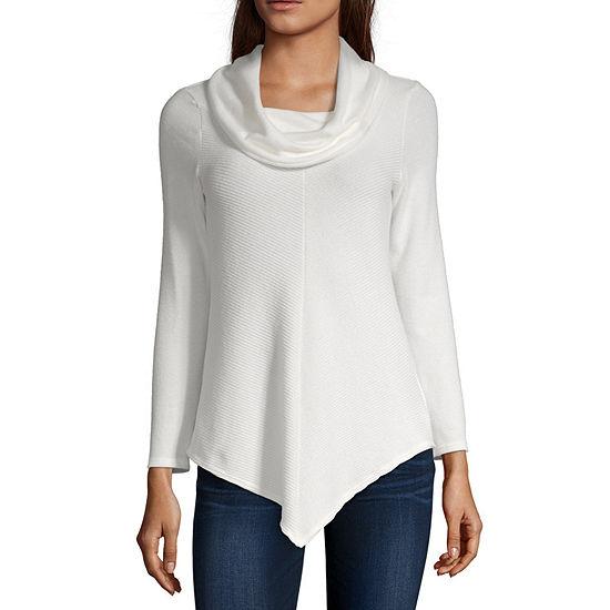 Byer California-Juniors Womens Cowl Neck Long Sleeve Pullover Sweater