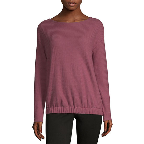 Liz Claiborne Weekend-Womens Boat Neck Long Sleeve T-Shirt
