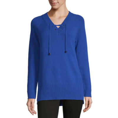 Liz Claiborne Weekend Womens V Neck Long Sleeve Pullover Sweater