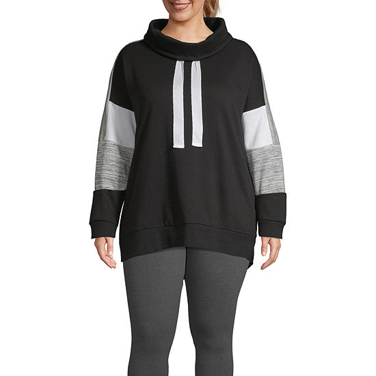 Xersion Womens Cowl Neck Long Sleeve Sweatshirt Plus