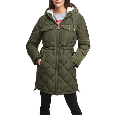 Levi's Quilted Hooded Heavyweight Puffer Jacket, X-large , Green