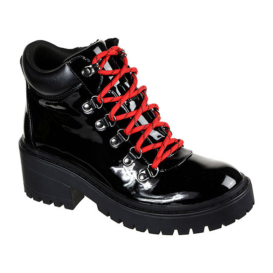 Skechers Womens Lace Up Flat Heel Boots