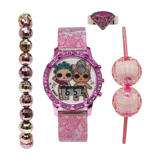 LOL Surprise! LOL Girls Pink 4-pc. Watch Boxed Set-Lol40147jc