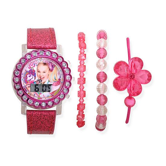Jojo Siwa Girls Pink 4-pc. Watch Boxed Set-Joj40118jc