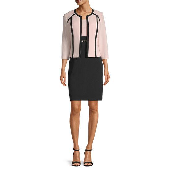 Studio 1 3/4 Sleeve Contrast Trim Jacket Dress