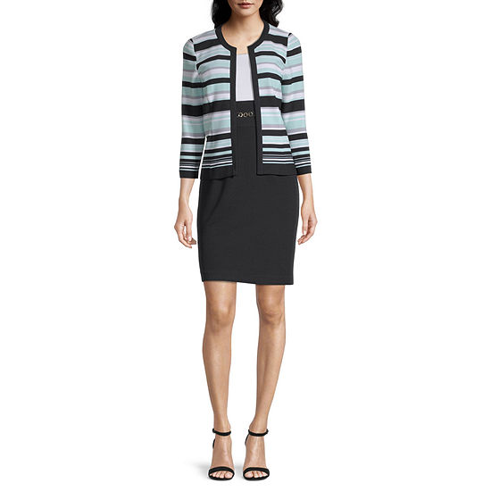 Studio 1 3/4 Sleeve Striped Jacket Dress