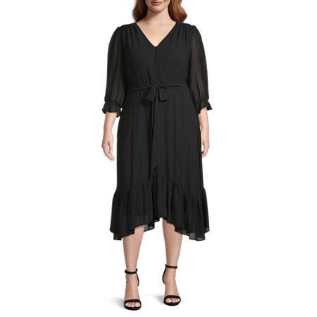 1920s Plus Size Flapper Dresses, Gatsby Dresses, Flapper Costumes Danny  Nicole-Plus 34 Sleeve High-Low Fit  Flare Dress 16w  Black $59.25 AT vintagedancer.com