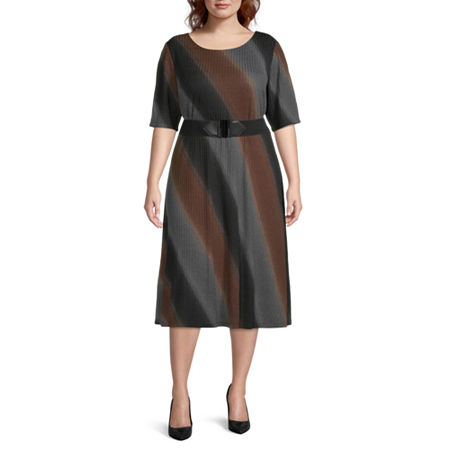 70s Dresses – Disco Dress, Hippie Dress, Wrap Dress Studio 1-Plus Short Sleeve Ombre Fit  Flare Dress 20w  Gray $39.49 AT vintagedancer.com