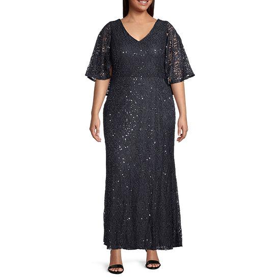 Blu Sage 3/4 Sleeve Evening Gown-Plus