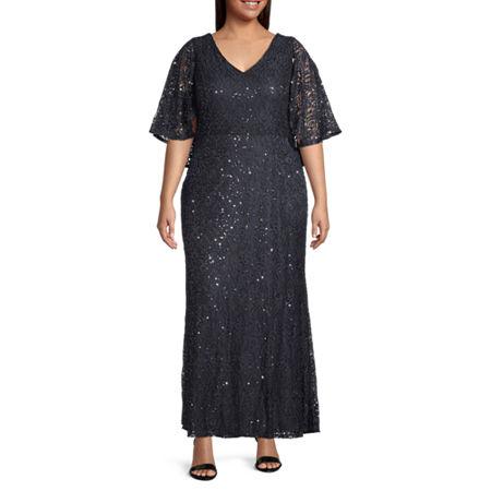 1930s Plus Size Dresses | Art Deco Plus Size Dresses Blu Sage 34 Sleeve Evening Gown-Plus 16w  Black $112.50 AT vintagedancer.com