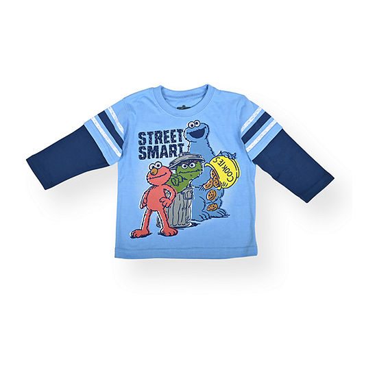 Baby Boys Crew Neck Sesame Street Long Sleeve Graphic T-Shirt