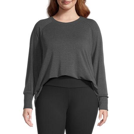 Stylus Plus Shirttail Womens Crew Neck Long Sleeve Sweatshirt, 3x , Gray