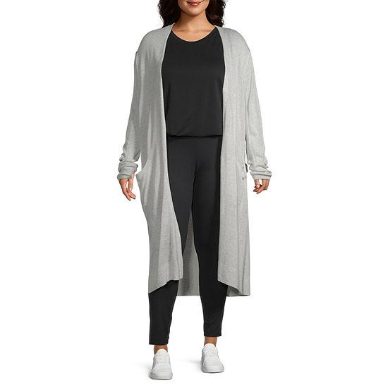 Stylus-Plus Duster Womens Long Sleeve Open Front Cardigan