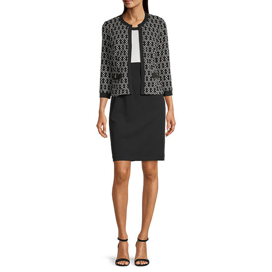Studio 1 3/4 Sleeve Colorblock Jacket Dress
