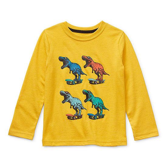 Okie Dokie Little Boys Crew Neck Long Sleeve Graphic T-Shirt
