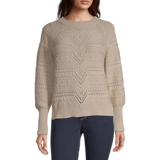 a.n.a. Womens Crew Neck Long Sleeve Pullover Sweater