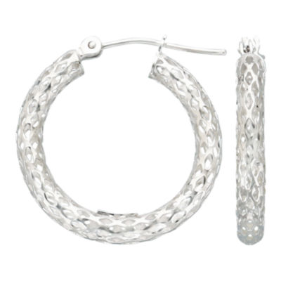 Geometric Cut-Out Hoop Earrings 14K White Gold