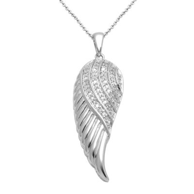 1/10 CT. T.W. Diamond Sterling Silver Feather Wing Pendant Necklace