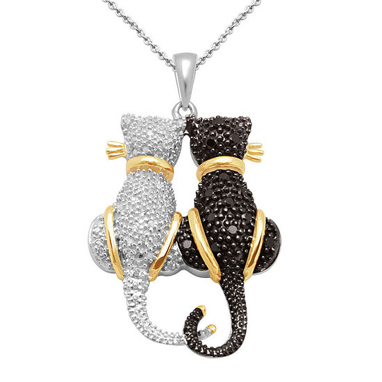 ¼ CT. T.W. White & Black Diamond Double Cat Pendant Necklace