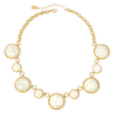 Monet® White Stone Gold-Tone Collar Necklace