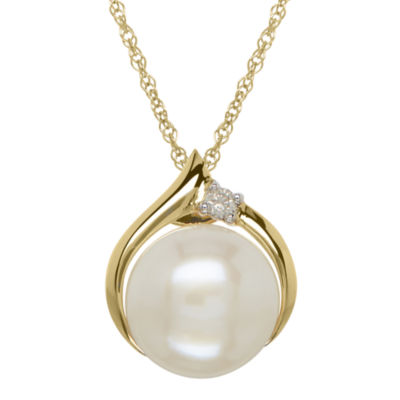 Certified Sofia™ Cultured Freshwater Pearl & Diamond-Accent 10K Gold Pendant Necklace