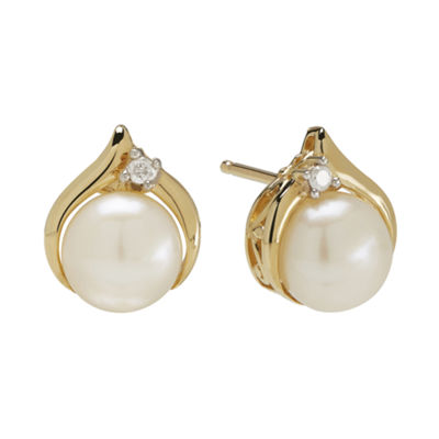 Certified Sofia™ Cultured Freshwater Pearl & Diamond-Accent 10K Gold Earrings