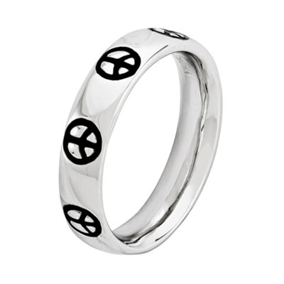Personally Stackable Sterling Silver Peace Sign Band