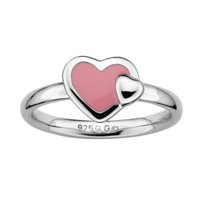 Personally Stackable Sterling Silver Pink Enamel Heart Ring