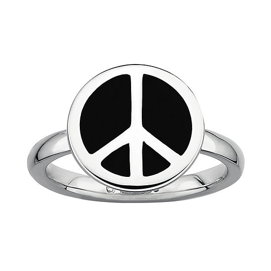 Personally Stackable Sterling Silver Black Enamel Peace Sign Ring