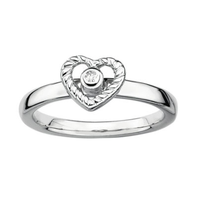 Personally Stackable Diamond-Accent Heart Stackable Ring